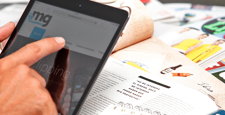 Tablet con la pantalla de MG Clipping
