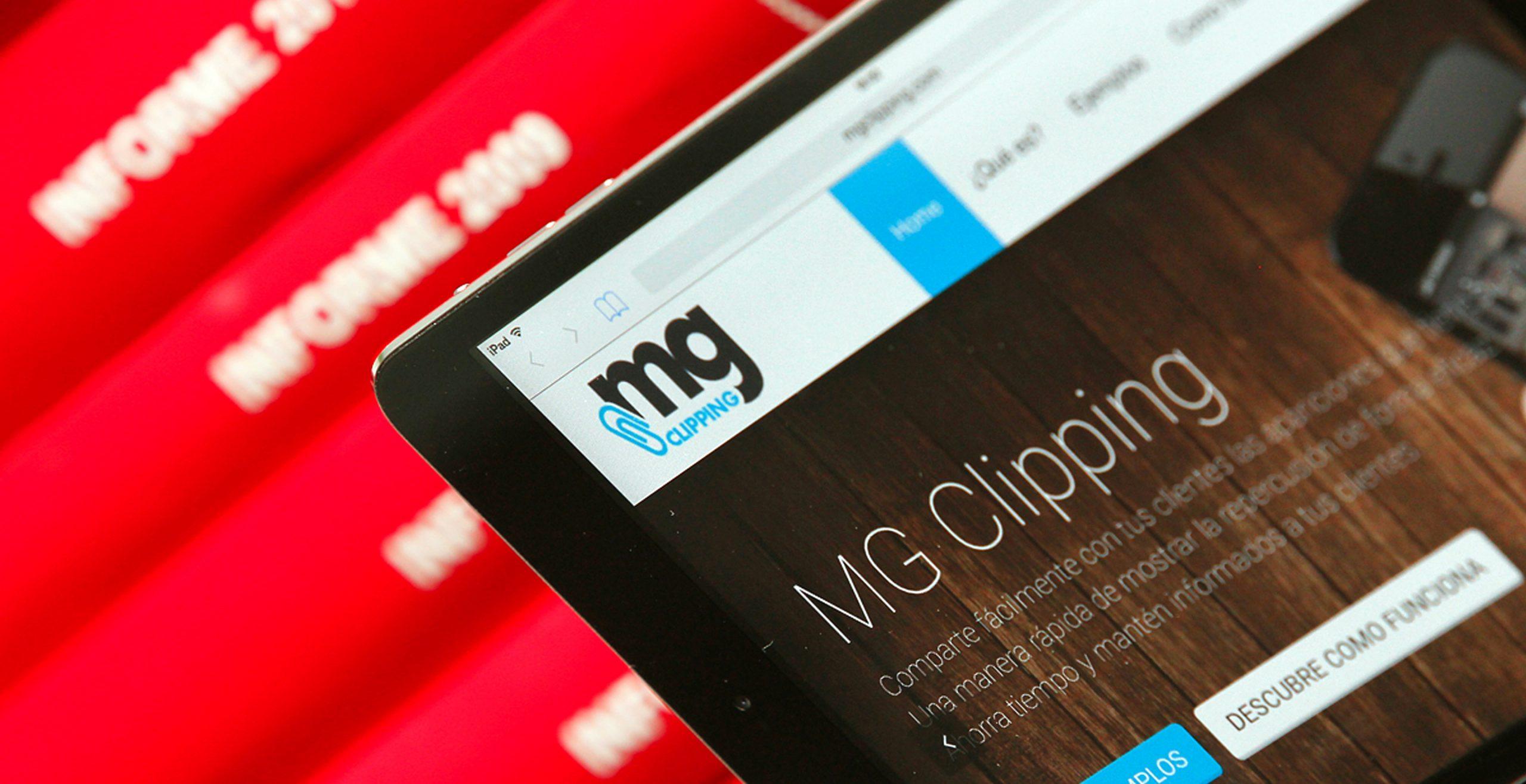 Detalle de la landing page de la web de MG Clipping