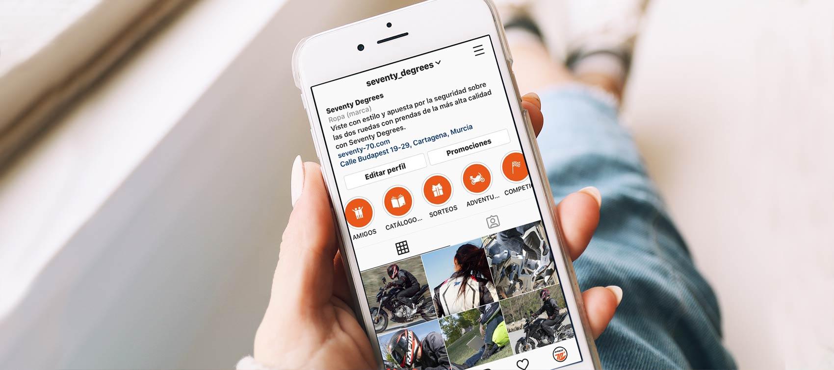 Página de Instagram de Seventy Degrees desde la pantalla de un Smartphone