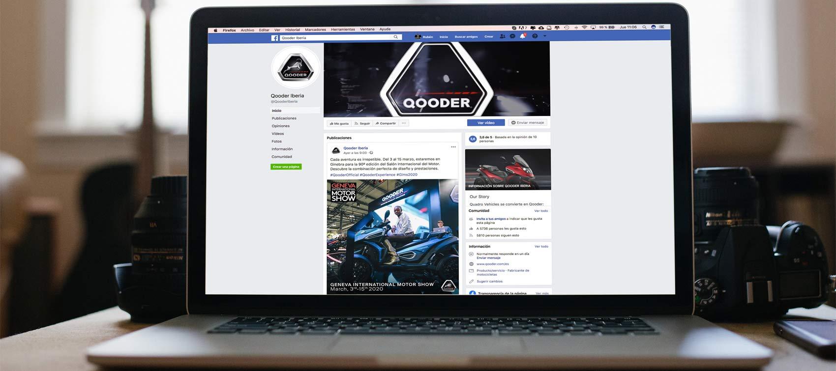 Página de Facebook de Qooder desde Mac