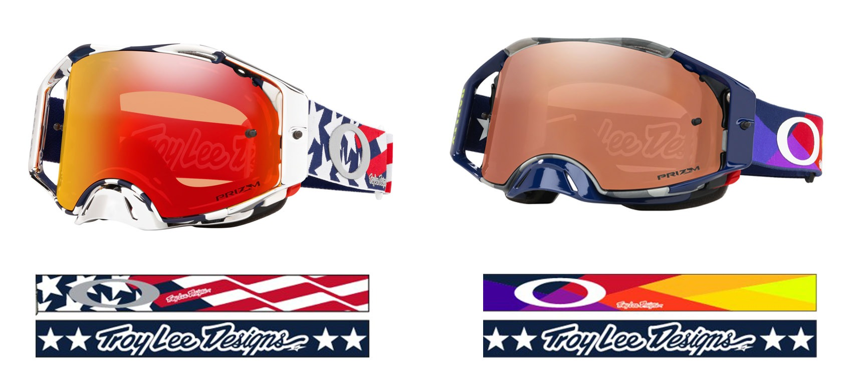 Imagen de detalle de la colección exclusiva de gafas Oakley Airbrake MX Troy Lee designs, distribuida por Bihr