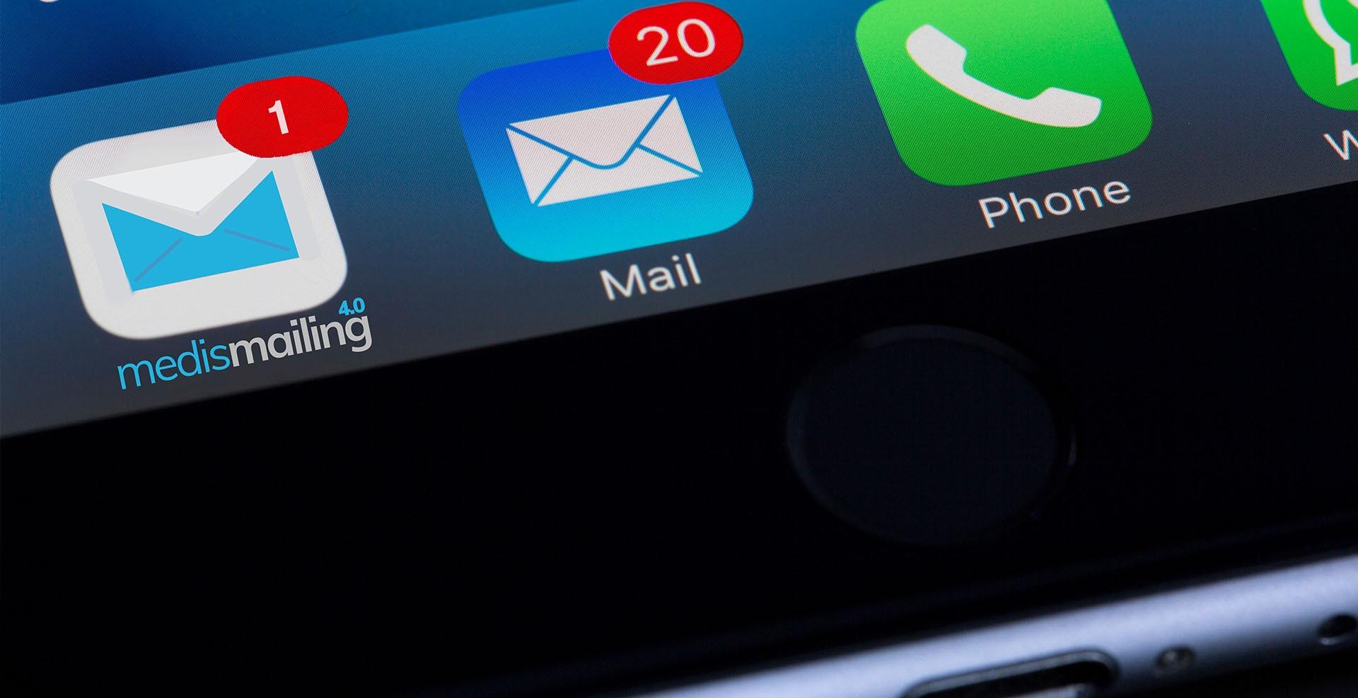 Buzón de entrada de la herramienta Medismailing en el teléfono