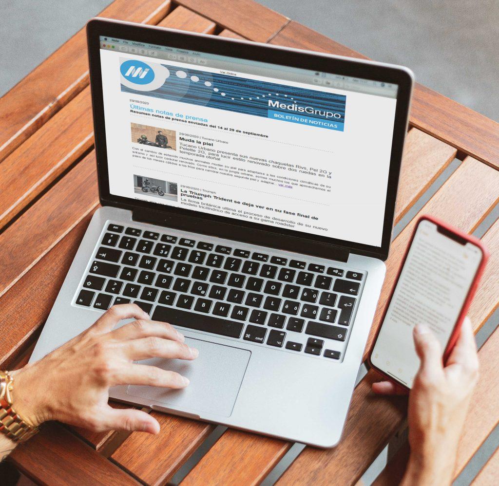 Imagen de cómo se muestra el recopilatorio de notas de prensa de Medismailing en el ordenador